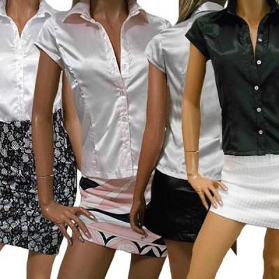 半袖フレンチ袖 白 ベビーピンク シルバーグレー 黒 超光沢ありのテカテカ ツルツルストレッチテンシャツ サテンブラウス  レディースシャツ セクシーブラウス
