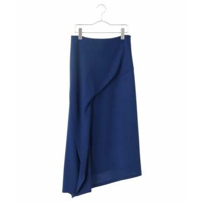 HIROKO KOSHINO/ヒロココシノ 【日本製】ウールストレッチデザインスカート ブルー L