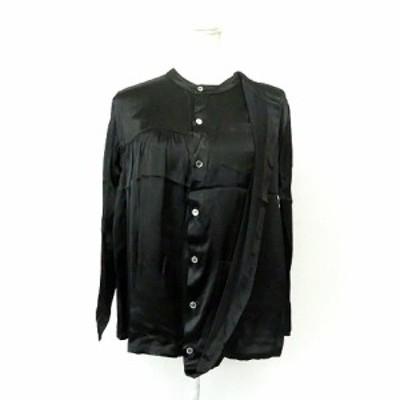 【中古】未使用品 ズッカ zucca レーヨン 長袖 ノーカラー サテン ブラウスシャツ ZU63FJ15603M 黒  M レディース