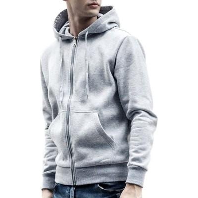 (アリルチョウ) パーカー メンズ アウター 無地 厚手 おしゃれ ジップ アップ 服 上着 長袖 おおきい トップス 灰 色 グレー XXL サイズ