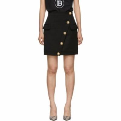 バルマン Balmain レディース ミニスカート ラップスカート スカート black wool wrap skirt Noir