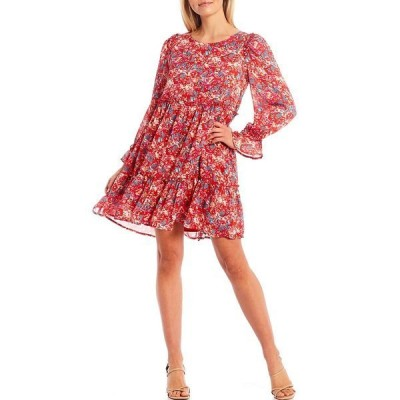 シュガーリップス レディース ワンピース トップス Floral Print Babydoll Dress Red/Multi