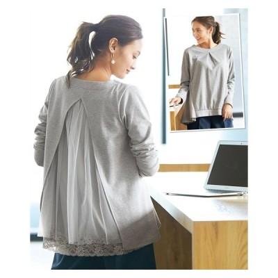 Tシャツ カットソー 大きいサイズ レディース バック チュール トップス  L/LL/3L ニッセン nissen