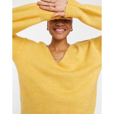 ワイ エー エス Y.A.S レディース ニット・セーター Vネック トップス . soft v-neck jumper in yellow イエロー