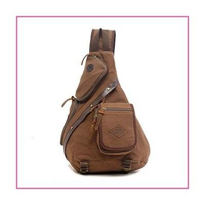Canvas Sling Bag, Large Canvas Chest Bag Sling Chest shoulder Bag Crossbody Sling Backpack for Men Women (Coffee)並行輸入品
