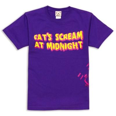 猫 おもしろ かわいい Tシャツ メンズ レディース 半袖 CAT'S SCREAM - パープル ネコ ねこ 猫柄 雑貨 - メール便 - SCOPY スコーピー