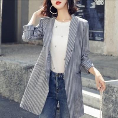 ストライプ グレンチェック柄 テーラードジャケット ストレッチフィットジャケット アウター レディース 韓国 オルチャン ファッション