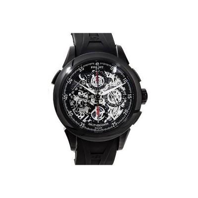 海外セレクション 腕時計 Perrelet Split Second クロノグラフ Auto スケルトン ダイヤル DLC ストラップ メンズ 腕時計 A1045/4A