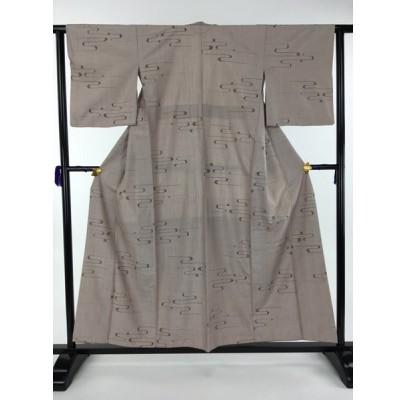着物 名品 紬 薄小豆色 霞 正絹 袷(10月〜5月) 身丈156cm 裄丈62.5cm  リサイクル バイセル PK70