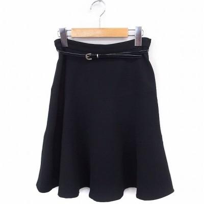 【中古】アプワイザーリッシェ Apuweiser-riche スカート フレア ひざ丈 無地 シンプル ベルト 1 ブラック 黒 /FT5 レディース 【ベクトル 古着】