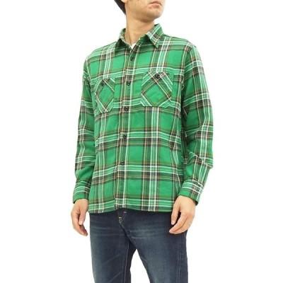 (シュガーケーン) Sugar Cane SC27703 ツイルチェック ワークシャツ メンズ 長袖シャツ (L, 145 グリーン)
