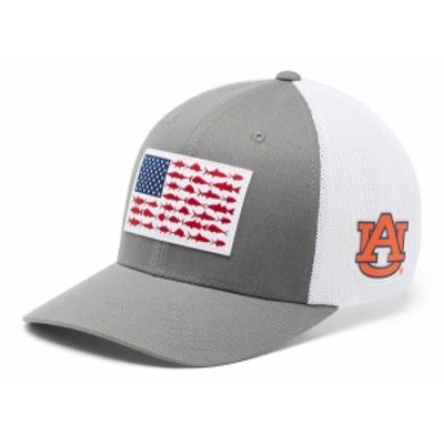 コロンビア メンズ 帽子 アクセサリー Columbia Men's Auburn Tigers Grey PFG Fish Flag Mesh Fitted Hat -