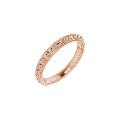 Solid 14k Rose Gold .05 Cttw Diamond Matching Ring Band Comfort Fit - Size