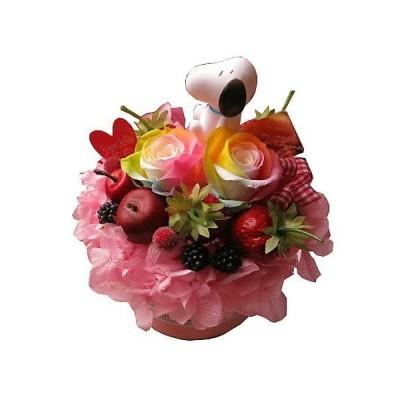 スヌーピー マスコット入り 誕生日プレゼント 花 レインボーローズ プリザーブドフラワー入り フラワーケーキ ケース入り