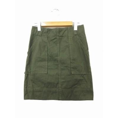 【中古】マカフィー MACPHEE トゥモローランド スカート 台形スカート ミニ 綿 コットン 無地 シンプル 36 カーキ