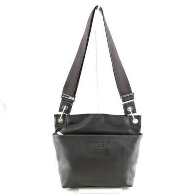 送料無料 美品 ブリー BREE ショルダーバッグ 鞄 斜め掛け レザー 本革 ダークブラウン系 レディース メンズ
