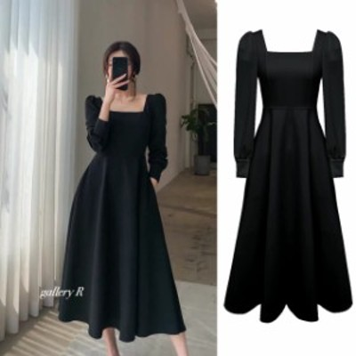 SALE セール ★ブラックドレス スクエアネック ★