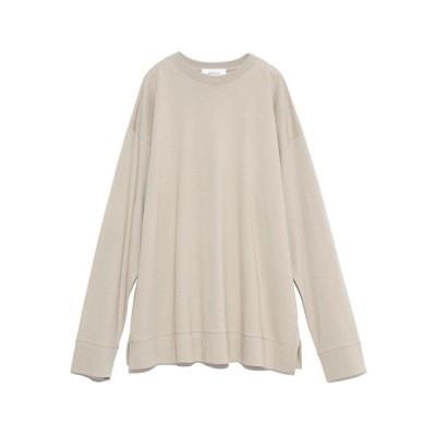 (Mila Owen/ミラオーウェン)裾切替サイドスリットロングTシャツ/レディース BEG