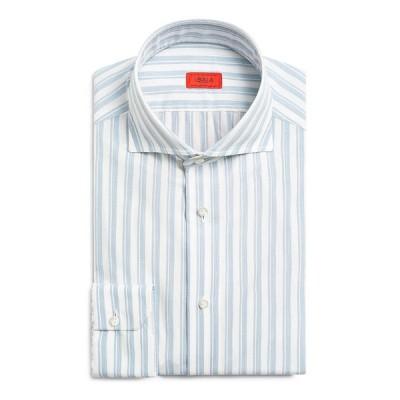 イザイア メンズ シャツ トップス Men's Double-Stripe Cotton Sport Shirt