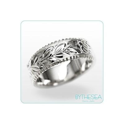 ハワイアンジュエリー 結婚指輪 リング 刻印無料 誕生石 名入れ マリッジリング 14K ホワイトゴールド オーダーメイド WF6B-D /送料無料