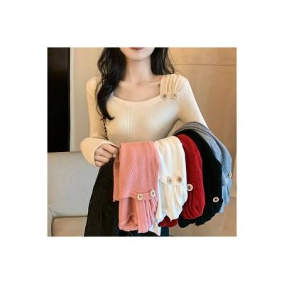 【送料無料】着やせ ボトムシャツ 女 長袖長袖 単一色 トップス 秋冬 何でも似 | 346770_A64192-4693372