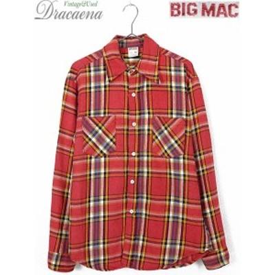古着 シャツ 70s 単色タグ BIG MAC カラフル チェック 100% コットン ヘビー フランネル シャツ ヘビネル M 古着