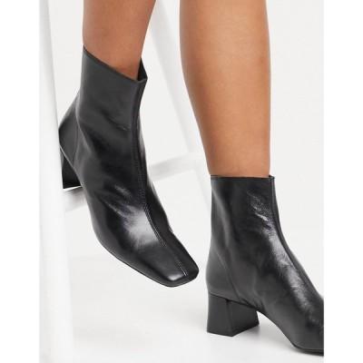 マンゴ Mango レディース ブーツ シューズ・靴 leather mid heel boots in black ブラック