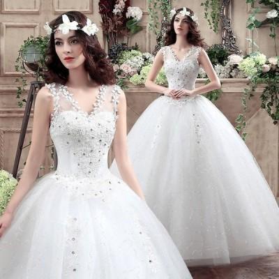 !ベール+パニエ+ グローブ4セット 豪華な ウェディングドレス☆ロングドレス結婚式二次会パーティー エンパイアドレス編み上げ