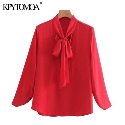 Kpyomoa 女性 2020 エレガントなファッションオフィス着用ブラウスヴィンテージ蝶ネクタイ襟長袖女性シャツ blusas トップス