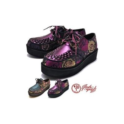 ヨースケ YOSUKE 靴 厚底 ラバーソール レディース  花柄 刺繍 ※(予約)は3月下旬入荷分予約販売