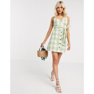 ジリ レディース ワンピース トップス Gilli button down mini dress in green gingham
