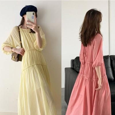 春夏 ドレス ロングドレス ワンピース 七分袖 袖あり ミモレ丈 無地 コットン ゆったり カジュアル お呼ばれ