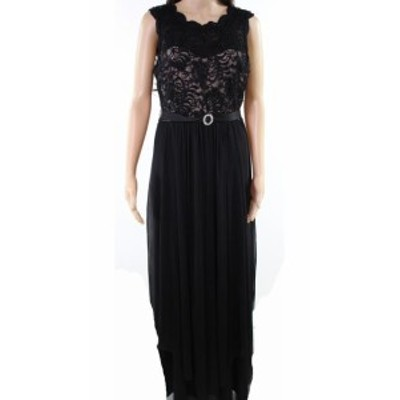 Sequin  ファッション ドレス R&M Richards NEW Black Womens Size 14 Sequin Lace Chiffon Gown
