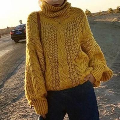 2018秋冬 タートルネック ざっくりニット セーター ローゲージ こうもり袖 ゆったり ルーズ カジュアル 大人可愛い リラックス