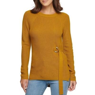 ダナ キャラン ニューヨーク レディース ニット&セーター アウター D-Ring Side Buckle Long Sleeve Sweater Moss