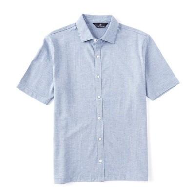 ハートシャファネールマークス メンズ シャツ トップス Shortsleeve Heather Herringbone Coatfront Sportshirt Blue
