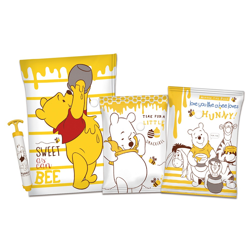 [迪士尼] 小熊維尼  真空壓縮袋2大3中3小(蜂蜜款)  9件組【5ip8】[現貨]