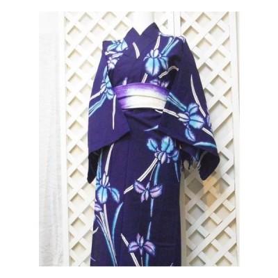 浴衣 ゆかた 中古 夏物女性用着物 ほぼ新品 藍染 あやめ お祭りや花火大会