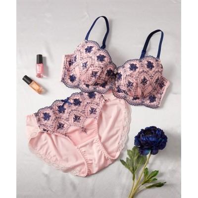 ボディハッピー 線画調デザインブラ・ショーツセット(トリンプ)(B75/M) (ブラジャー&ショーツセット)Bras & Panties