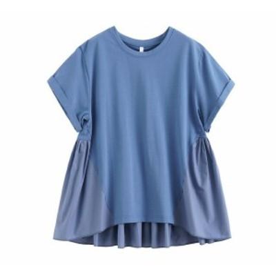 バックプリーツ Tシャツ Tシャツ  綿 ラウンドネック 半袖 ゆったり シンプル お出かけ 春夏 レディース  大人可愛い 体型カバー スポー
