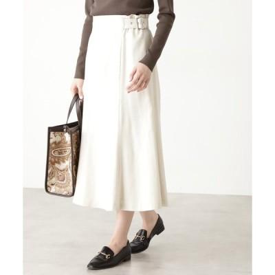 スカート ◆麻混サイドベルトミディスカート