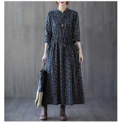 大きいサイズ レディース 小花柄 ロングワンピース ノーカラー マキシワンピビッグサイズ オーバーサイズ  韓国ファッション  LL 3L 4L
