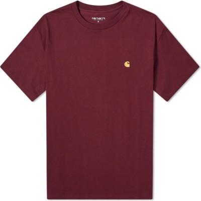 カーハート Carhartt WIP メンズ Tシャツ トップス chase tee Shiraz/Gold