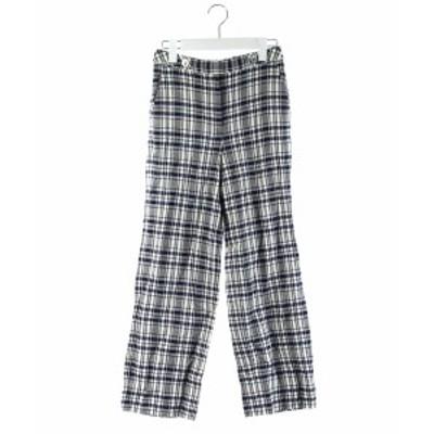 【中古】トゥモローランドコレクション 18SS パンツ ワイド ロング チェック リネン混 黒 紺 白 34 レディース