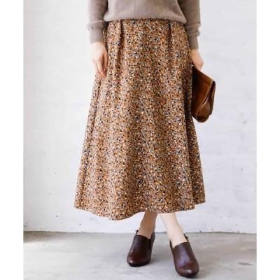 スカート 【洗濯機で洗える】フラワー幾何柄スカート