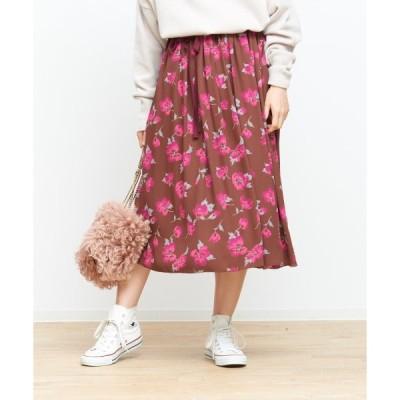 スカート ベルト付きフラワースカート