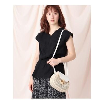 クチュール ブローチ Couture brooch 【洗える】エンブロイダリーフレンチスリーブシャツ (ブラック)
