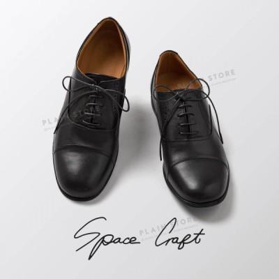 ストレートチップ レースアップシューズ ホースレザー 本革 革靴 ブラック Space Craft メンズ レディース