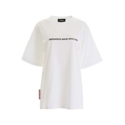 DSQUARED2/ディースクエアード Tシャツ WHITE Dsquared2 made with love t-shirt レディース S75GD0026 S20694 ik