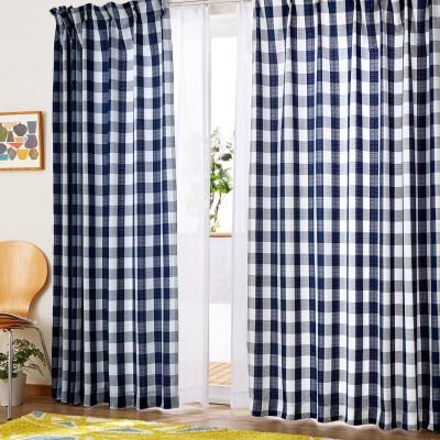 ギンガムチェック柄のカーテン&UVカット・遮熱・ミラーレースカーテン4枚セット【厚地2枚・薄地2枚】